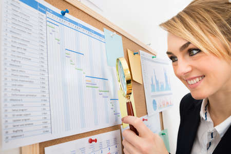 bulletin board: Close-up Of Happy Businesswoman Examining Gantt Chart With Magnifying Glass