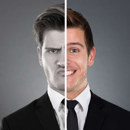 looking after: Portrait Of Businessman With Two Face Expression Stock Photo