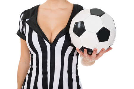 arbiter: Close-up Of Female Referee Holding Football In Hand