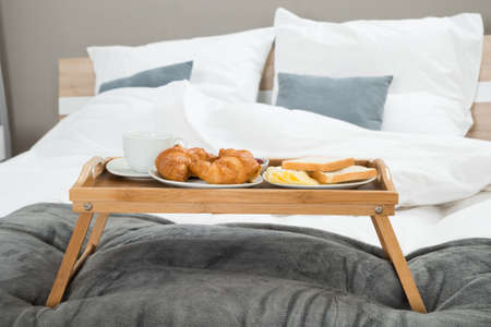 hospitality: Tasty Breakfast On A Wooden Table Tray Stock Photo