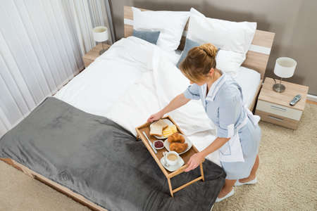 keeping room: High Angle View Of Beautiful Maid With Breakfast Keeping On Table Tray In Hotel Room