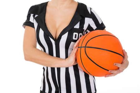 arbitrator: Close-up Of Female Referee With Orange Basketball Stock Photo