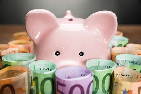 dinero euros: Primer Plano De Una Hucha Rodeado Con rodadas billetes en euros Foto de archivo
