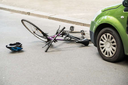 automobile insurance: Close-up Of A Bicycle Accident On The City Street