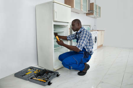 Young African Repairman Repairing Refrigerator In Kitchen Room photo