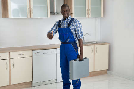 Young Happy African Technician Holding Toolbox In Kitchen Room photo