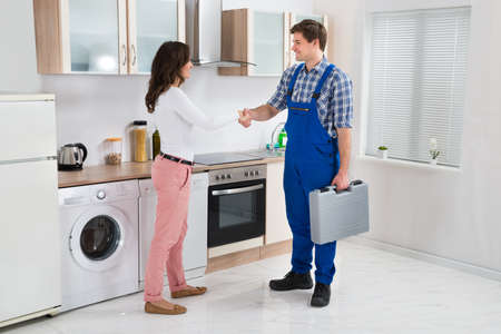 home appliance: Young Male Repairman Shaking Hands With Happy Woman In Kitchen
