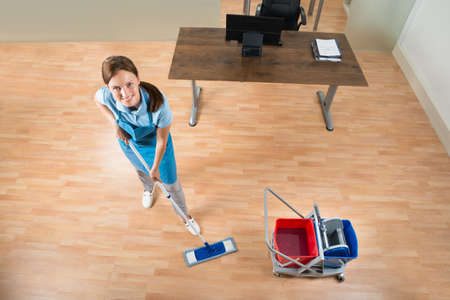 mopping: Female Janitor With Cleaning Equipments Mopping Floor In Office Stock Photo