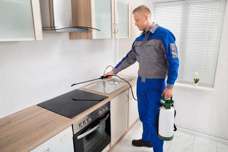 Jeune Homme Pest Control travailleur pulvérisation de pesticides table de cuisson induction dans la cuisine Banque d'images
