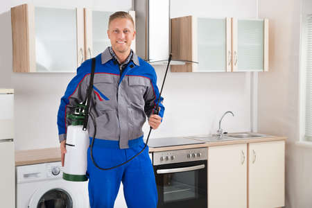 exterminator: Young Happy Pest Control Worker With Insecticide Sprayer In Kitchen Room