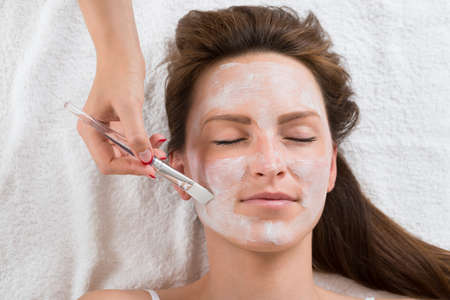 beauty treatment clinic: Therapist Hands With Brush Applying Face Mask To A Young Woman In A Spa Stock Photo