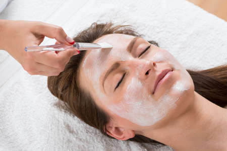 cosmetician: Therapist Hands With Brush Applying Face Mask To A Young Woman In A Spa Stock Photo