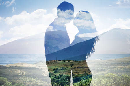 Superimposed Of Couple Loving Each Other Against Scenic Backdrop