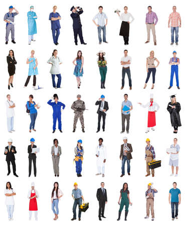 Multi Ethnic Group Of People From Various Professions Over White Background photo