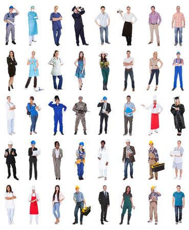 personal de limpieza: Multi Grupo étnico de personas de diversas profesiones más de fondo blanco Foto de archivo