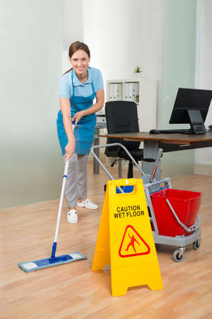 hardwood floor: Happy Female Janitor With Cleaning Equipments Cleaning Hardwood Floor In Office Stock Photo