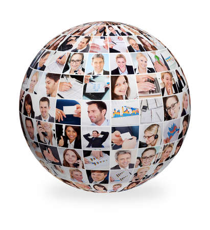 out of business: Sphere made out of various business images