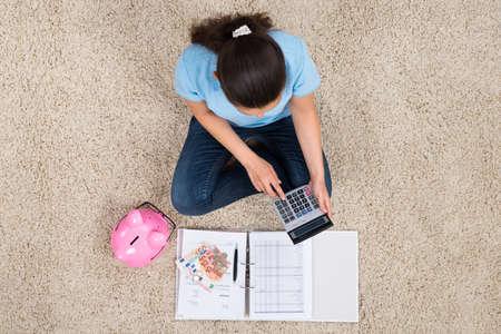 dinero: La mujer se sienta en la alfombra con Piggybank y el precio económico Cálculo Foto de archivo