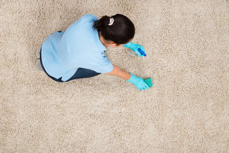Young Woman Cleaning Carpet With Detergent Spray Bottle And Sponge