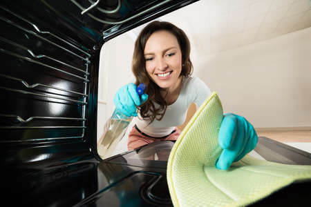 oven: Young Happy Woman Cleaning View From Inside The Oven Stock Photo