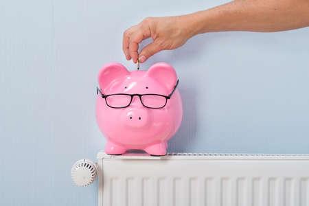 eficiencia: Primer De Ma Insertar Moneda En Piggy Bank siguió Radiador Foto de archivo