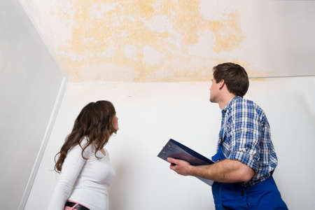 ceiling: Young Worker Writing On Clipboard With Woman Standing In House Stock Photo