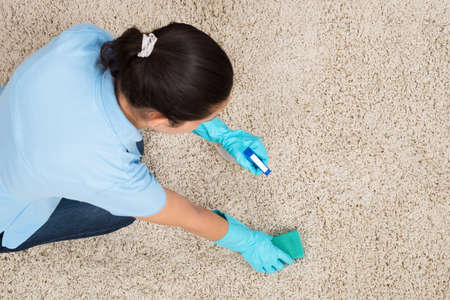 dirty carpet: Young Woman Cleaning Carpet With Detergent Spray Bottle And Sponge