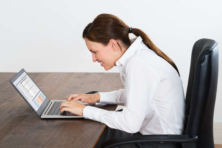 Young Happy Businesswoman Working On Laptop In Office