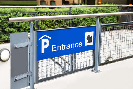 access restricted: Entrance Of Indoor Car Parking Lot In City