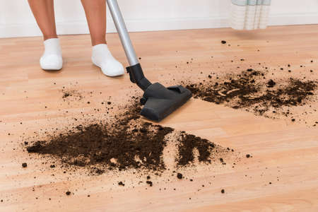 dirt: Close-up Of Person With Vacuum Cleaner Cleaning Dirt On Floor