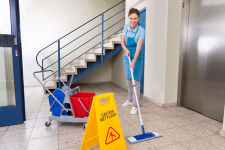 Young Happy Female Worker With Cleaning Equipments And Wet Floor Sign On Floor Zdjęcie Seryjne - 45461272