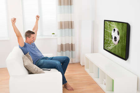 Young Happy Woman Having Fun While Watching Soccer Game On Television Standard-Bild