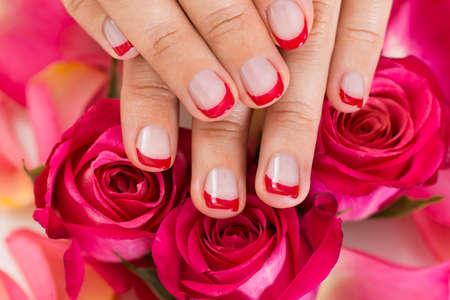 rosas rojas: Primer plano de las manos con barniz de uñas Manicured coloca sobre rosas rojas
