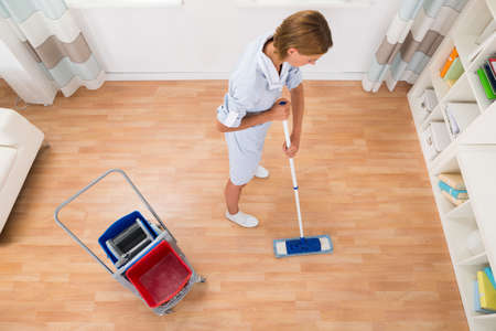 cleaning lady: High Angle View Of Female Cleaner Cleaning Floor With Mop