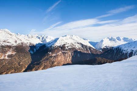 alpinism: Snowy Alpine Mountains In Solden In Oetztal Alps; Tirol; Austria