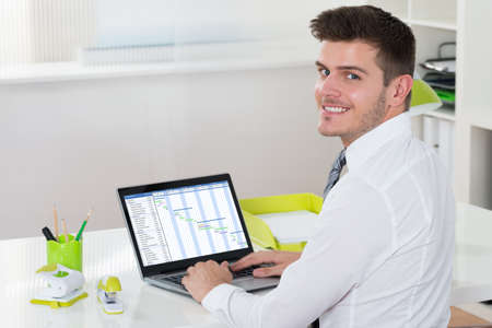 project manager: Young Happy Businessman Working With Gantt Chart On Laptop At Desk