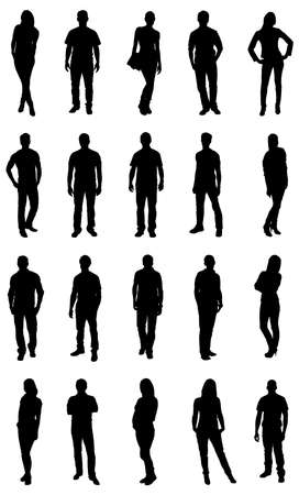 groups: Set Of Trendy People Silhouettes. Vector Image Illustration