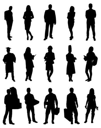 Collection Of Different Professionals People Silhouettes. Vector Image