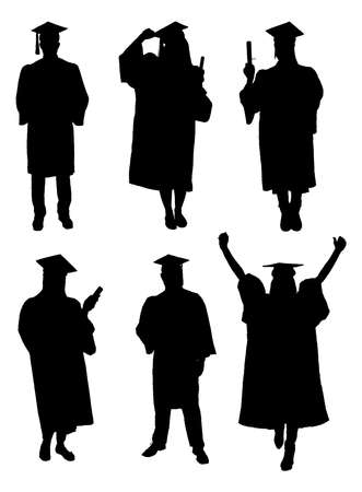 Vector Of Graduate Students Silhouettes. Vector Image