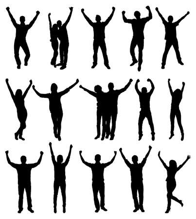 hand silhouette: Set Of Excited People Silhouettes. Vector Image