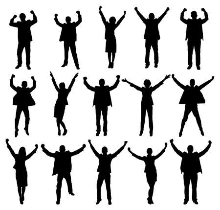Set Of Excited People Silhouettes. Vector Image