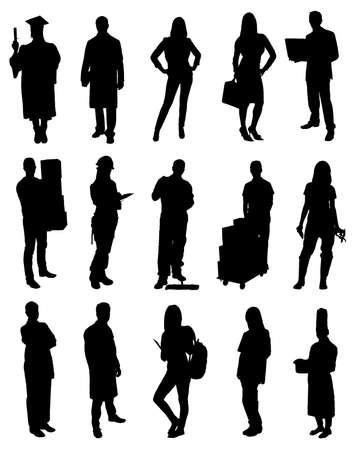 プロの人々 のベクトル シルエット画像のセット