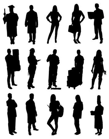 Set Of Professional People Vector Silhouette Images