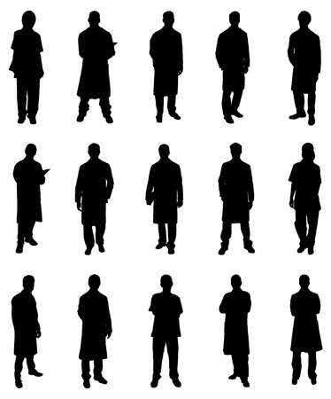 Illustration Of Professional Doctors Silhouettes. Vector Image