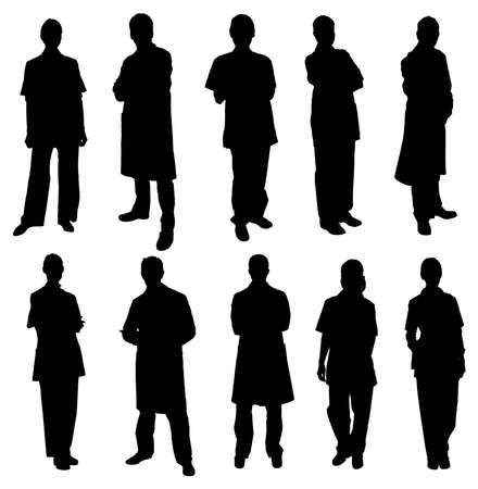 doctor female: Vector Set Of Doctors Silhouettes Over White Background