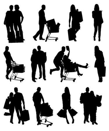 쇼핑 가방을 들고하는 사람들 실루엣의 콜라주입니다. 벡터 이미지