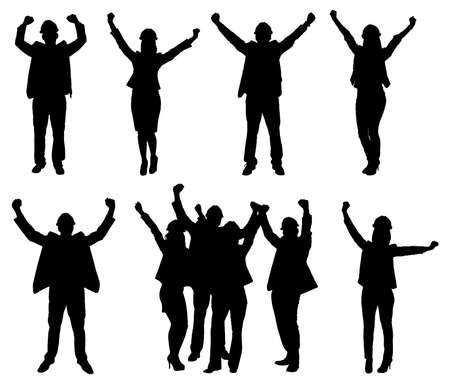 exaltation: Set Of Excited People Silhouettes. Vector Image