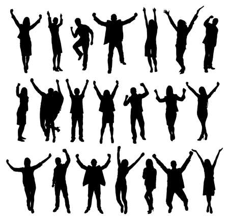 people standing: Set Of Excited People Silhouettes. Vector Image