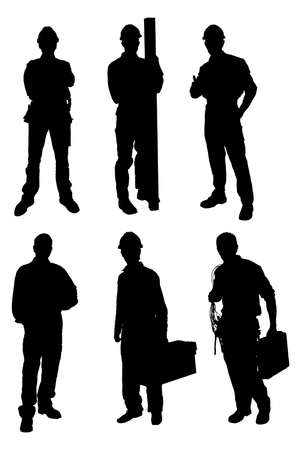 Silhouettes Of Handyman Workers Set. Vector Image 矢量图像