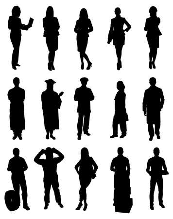 Collection Of People Silhouettes From Various Professions. Vector Image Illustration